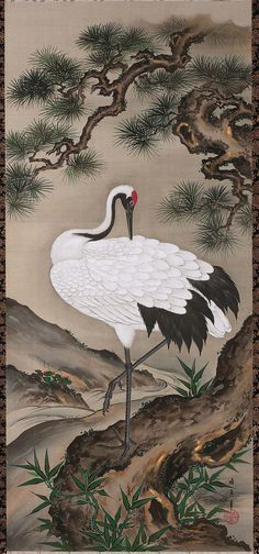 Crane with Pine Tree-Japanese Edo period century Kamiya Seishin (Japanese, dates unknown) Pine Tree Art, Pine Tree Tattoo, Japanese Drawings, Japanese Prints, Japanese Painting, Chinese Painting, Japanese Crane, Japan Crafts, Art Japonais