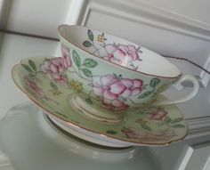 Antique pastel green floral Diamond made in Occupied Japan tea cup and saucer, Japanese tea set, pink flower tea cup by Pickedtwice on Etsy