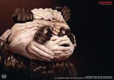 Panda made of hands for Honda ad