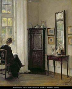 Interior with Woman Reading - Carl Vilhelm Holsoe