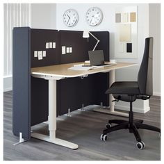 IKEA - BEKANT, Screen for desk, 21 & , The screen creates a quiet and pleasant working environment by providing privacy and absorbing sound.Easy to mount on BEKANT table top to create a private work space.Holds push pins and can be used as a noticeboard. Ikea Office, Ikea Desk, Home Office Desks, Home Office Furniture, Office Decor, Small Office, Office Ideas, Office Setup, Office Designs