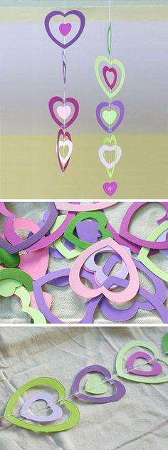 Paper Heart Mobile   DIY Valentines Crafts for School Parties   DIY Valentines Crafts for Kids to Make