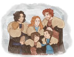 Robb, Sansa, Arya, Bran and Rickon Stark & Jon Snow - Game of Thrones, House Stark