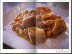 Garbanzos con Salmón (Thermomix) Fish And Seafood, Stew, Macaroni And Cheese, Waffles, Meals, Chicken, Breakfast, Ethnic Recipes, Gastronomia