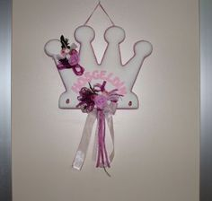 Hoşgeldin Yazılı Kraliçe Taçlı Çiçekli Kız Bebek Kapı Süsü Pembe