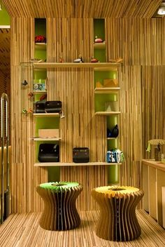 bamboo decoration in living room - Internal Home Design Interior Design With Bamboo, Bamboo Design, Home Design, Home Interior Design, Design Ideas, Bungalow, Traditional Family Rooms, Traditional Interior, Bamboo Room Divider