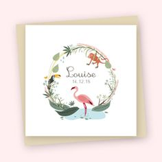 Faire-part de naissance Jungle Flamingoà personnaliser en ligne ou dans nos boutiques. #fairepartnaissance #Tropical #Jungle #Flamantrose #Pastel #fille #jolipapier #enveloppecouleur #fille #artdupapier #illustration #dessin #papeterie #birhtannouncement #stationery #frenchillustration #frenchdesign #madeinfrance #madeinparis