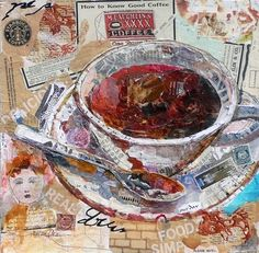 """Good Coffee"" ~ Painted and Torn Paper Collage ~ Mixed Media Collage by Texas Daily Painter Nancy Standlee. On this torn paper collage piece I've used some images from a Starbucks sack, some hand painted papers using my handmade stamps, some collage images from old paintings and pages from a vintage magazine. {Nancy Standlee Art Blog}"