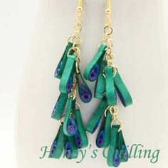 Paper Quilling Peacock Earrings in Chain and Cluster Designs - Honey's Quilling