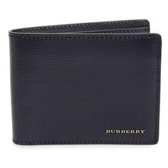 Burberry 'New London' Calfskin Bifold Leather Wallet ($395) ❤ liked on Polyvore featuring men's fashion, men's bags, men's wallets and dark navy