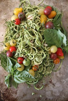Zuchinni Noodles with Basil Almond Pesto and Cherry Tomatoes