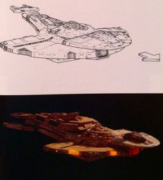 Cardassian Galor Class designed by Rick Sternbach and built by Greg Jein. Fist used in 1991's The Wounded.