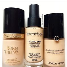Owning over 30 foundations makes it hard to pick favourites but these are 3 of my favourite high end ones at the moment  @toofaced Born This Way Foundation - I find this to be medium to light full, it isn't full full coverage. It feels lightweight and lasts well on my oily skin.  @smashboxcosmetics Studio Skin 15 Hr Foundation - Probably my holy grail high end foundation! This is so underrated. It is full coverage and it keeps me Matte ALL day  @armanibeauty Luminous Silk Foundatio...