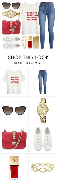 """""""Look Forward"""" by jomashop ❤ liked on Polyvore featuring Michael Kors, Seiko, Valentino, Yves Saint Laurent, Versace 19•69, white and red"""