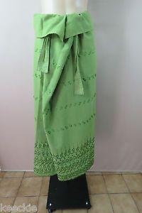 ONE Size L 14 Ladies Green Maxi Wrap TIE Skirt Full Long Boho Hippie Gypsy Style   eBay