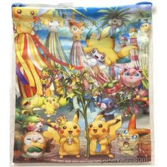 Pokemon Center Tohoku 2017 Renewal Opening Jirachi Victini Shaymin Pikachu & Friends Medium Size Drawstring Dice Bag