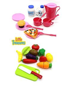 Little Treasures 2 in 1 mini food meal serving set for kids 3  Invite early dramatic play, build vocabulary - pretend-play mealtime routines and more with the most familiar food to toddlers ** Read more reviews of the product by visiting the link on the image.