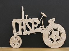 Case Tractor Very Detailed Natural Wood Finish Cut On Scroll