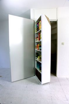 "Idea for movable interiors to closets or pantries?  Maybe a few ""sliding pantry"" shelves that would allow ""rows"" of pantry shelves to slide out of the way to give access to deeper ""rows""?  (side by side closet space, but the rows slide between them?)"