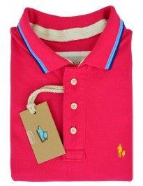 Camisa Polo SheepFyeld Rosa Penelope Detalhes Listras Na Gola e Punho