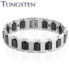Bracelet homme tungstène cylindres noir
