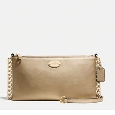 "JUST IN Coach Ceossbody in Pebble Leather 8 1/2 x 4 3/4. 23"" Drop Double Strap.  Inside credit card and multifunction pockets.  Perfect for a night out.  Gold Pebble Leather. Coach Bags Crossbody Bags"