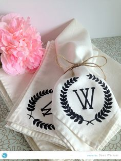 Tutorial | DIY Monogram Napkins-made with a Silhouette but could be made with a store bought stencil