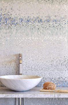 Bathroom Mosaic Tiles~ Metamorphosis Collection by Sara Baldwin for New Ravenna Mosaics Mosaic Backsplash, Mosaic Tiles, Tiling, Mosaic Bathroom, Bathroom Wall, Modern Bathroom, Bathroom Ideas, Tiled Bathrooms, Natural Bathroom