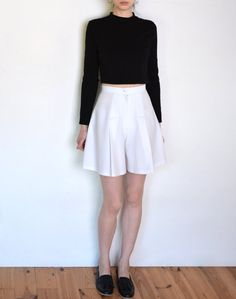 90's tennis shorts white high waisted flared by WoodhouseStudios