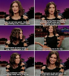 Nina Dobrev about what her cat does when she doesn't feel loved | The Late Late Show with James Corden (January 19, 2017)
