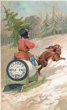 Clarks thread trading card ad 1900s