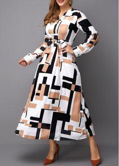 Geometric Print Belted Long Sleeve Maxi Dress | modlily.com - USD $28.61