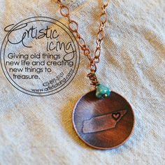 etched Tennessee State heart on home copper necklace on Etsy, $28.00