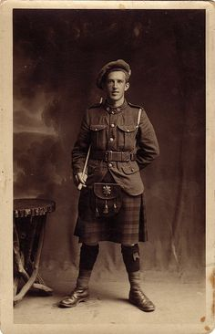 +~+~ Vintage Photograph ~+~+ Soldier from the Canadian Highlander Regiment. 1917