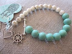 Bauble Bracelet - Turquoise, White, & Silver - Rudder Charm - Heart Toggle Clasp