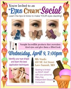 """here's a cool idea for a Mary Kay Party! But since it's called """"Eyes Cream"""" Social I would use our cream eye shadows instead"""