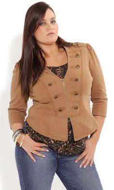 309a98e52809d Plus Size Caramel Military Jacket - City Chic - City Chic Plus Size  Military Jacket