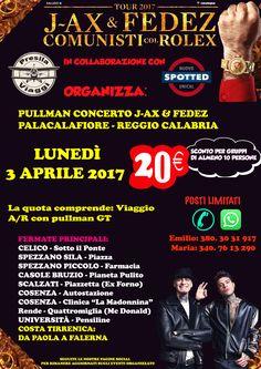 Viaggio organizzato per il concerto di J-Ax e Fedez a Reggio Calabria - L'EVENTO DELL'ANNO STA ARRIVANDO!! J-Ax & Fedez AL #PalaCalafiore con #ComunistiColRolex Comunisti col Rolex VIETATO MANCARE!! 3 APRILE 2017 AFFRETTATEVI: POSTI LIMITATI !!! PER ACQUISTARE I BIGLIETTI RIVOLGERSI ALL'AGENZIA Inprimafila... - http://www.eventiincalabria.it/eventi/viaggio-organizzato-per-il-concerto-di-j-ax-e-fedez-a-reggio-calabria/