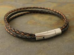 Men's Braided Leather Bracelet with Steel
