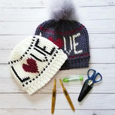 Ravelry: Lovely Heart Beanie pattern by Elisa DeSena Crochet Adult Hat, Crochet Beanie Pattern, Crochet Hats, Knit Hats, Crochet Clothes, Free Crochet, Easy Crochet Headbands, Valentine Hats, Crochet Letters