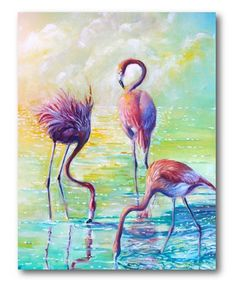Love this Three Flamingos Wrapped Canvas on #zulily! #zulilyfinds