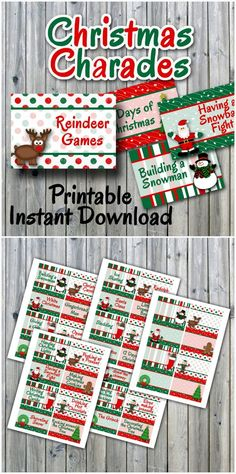 Christmas Charades Printable PDF - Party Game Printable - INSTANT DOWNLOAD - christmas games - christmas party   #AFFILIATE