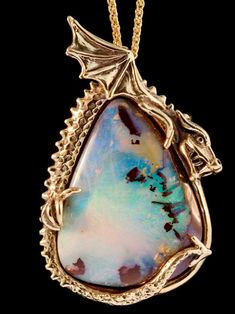gold Icefyre Dragon, Boulder Opal, One of a kind Dragon Jewelry, Opal Jewelry, Pendant Jewelry, Dragon Ear Cuffs, Matrix Opal, Dragon Eye, Dragon Pendant, Lockets, Handmade Silver