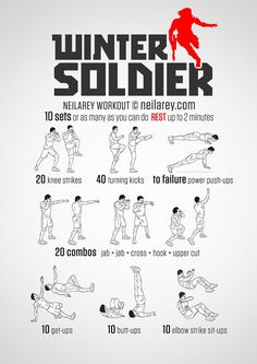 Winter Soldier Workout <<< never would do this workout but hey. To all the future guys that wanna date me, here's your workout plan from now on. For More Health And Fitness Tips Visit Our Website Fitness Workouts, Hero Workouts, At Home Workouts, Fitness Tips, Fitness Motivation, Fitness Models, Movie Workouts, Walking Workouts, Stomach Workouts