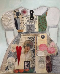 Another of my dresses collaged this time rather than handstitched. It is collaged  With both vintage and modern papers as well as a reproduction of