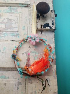 Fabric wrapped bird wreath.