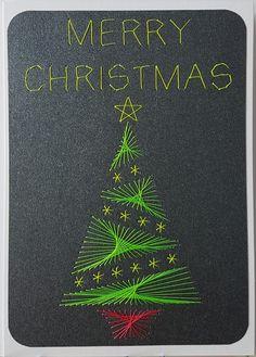 Weihnachten 2016_019 NEON - Motiv: Weihnachtsbaum 08 NEON - Copyright des Motives: Stitchingscards - Doppelkarte mit Umschlag Format A6