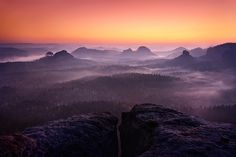 soft fog at twilight, Winterberg, Saxony, Germany, by mibreit