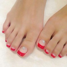 Feet nails, toe nails red, french toe nails, french tip toes, colorful French Toe Nails, Do It Yourself Nails, Pretty Toe Nails, Manicure E Pedicure, Pedicures, Beach Pedicure, Pink Pedicure, Pedicure Ideas, Feet Nails