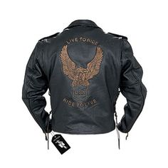 "Amazon.com: Men's Classic Biker Leather Eagle ""Live to Ride"" Jacket MJ703 L: Automotive $89.95 + free shipping"